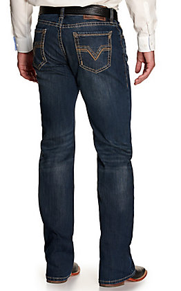 Rock & Roll Denim Men's Double Barrel Vintage Dark Wash Straight Leg Relaxed Fit ReFlex Stretch Jeans
