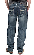 Rock & Roll Cowboy Men's Medium Vintage Wash Running V Embroidered Double Barrel Relaxed Fit Straight Leg Jeans