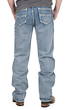 Rock & Roll Cowboy Men's Medium Vintage Wash Abstract V Embroidered Double Barrel Relaxed Fit Straight Leg Jeans