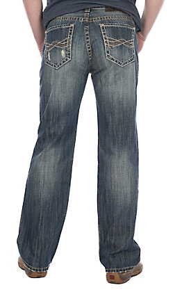 Rock & Roll Cowboy Men's Double Barrel Relaxed Straight Leg Medium Wash Copper Abstract Stitched Pocket Jeans