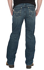 Rock & Roll Cowboy Men's Double Barrel Straight Leg Dark Wash Horizontal Stitched Pocket Jeans