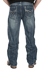 Rock & Roll Cowboy Men's Medium Wash with Larve V Embroidered Pocket Relaxed Fit Straight Leg Jeans
