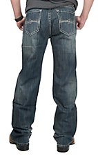 Rock & Roll Cowboy Men's Dark Stone Wash with Abstract Pocket Relaxed Straight Leg Jeans