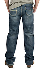 Rock & Roll Cowboy Men's Medium Wash with Cream Embroidered Pocket Relaxed Fit Straight Leg Jeans