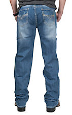 Rock & Roll Cowboy Men's Light Wash with Heavy V Stitch Open Pocket Relaxed Straight Leg Jeans