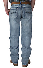 Rock & Roll Cowboy Medium Wash with Abstract Embroidery Pocket Double Barrel Relaxed Fit Straight Leg Jeans