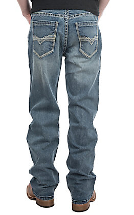 Rock & Roll Denim Men's Double Barrel Medium Wash V Stitch Straight Jeans