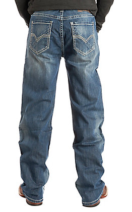 Rock & Roll Cowboy Men's Double Barrel Straight Leg Medium Wash Stitched Pocket Jeans