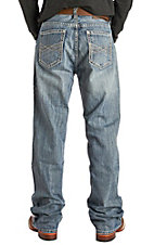 Rock & Roll Cowboy Men's Double Barrel Straight Leg Vintage Wash Horizontal Stitched Pocket Jeans