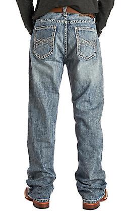 Rock & Roll Cowboy Men's Double Barrel Straight Leg Vintage Wash Horizontal Stitched Pocket Jeans
