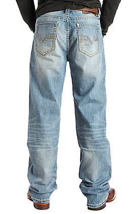Rock & Roll Cowboy Men's Double Barrel Straight Leg Light Wash Stitched Pocket Jeans