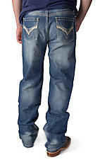 Rock & Roll Cowboy Medium Wash V Embroidery & Leather Pocket Double Barrel Relaxed Fit Straight Leg Jeans