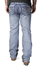 Rock & Roll Cowboy Light Wash V Embroidered Pocket Double Barrel Relaxed Fit Straight Leg Jeans