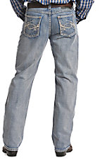 Rock & Roll Cowboy Tuf Cooper Men's Light Wash with Curved Embroidery Competition Fit Straight Leg Jeans