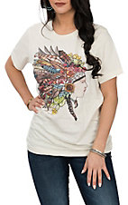 XOXO Art & Co. Women's Soft Cream Mother Earth Headdress Short Sleeve T-Shirt