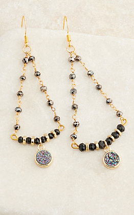 Laminin Gold Beaded with Druzy Drop Chandelier Earrings