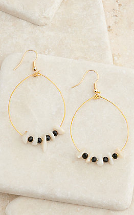 Laminin Gold Hoop with Agate Chips and Onyx Beads Earrings