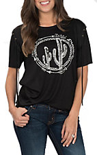 Vintage Havana Women's Black Wild Dreamer Cactus Short Sleeve Casual Knit Tee