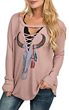 Vintage Havana Pink Bull Skull Graphic Thermal Lace Up Fashion Shirt