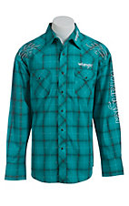 Wrangler Turquoise Plaid Logo Embroidery Long Sleeve Western Shirt MP1264M
