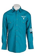 Wrangler 20X Teal Print with Logo Embroidery Long Sleeve Western Shirt MP1279M