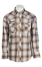 Wrangler Men's Khaki Plaid with Logo Embroidery Long Sleeve Western Shirt MP1280M