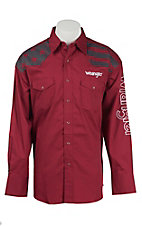 Wrangler Men's Red with Flag Print & Logo Embroidery Long Sleeve Western Shirt MP1282R