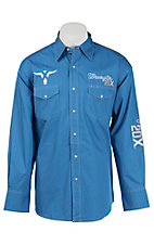 Wrangler 20X Solid Blue with Logo Embroidery Long Sleeve Western Shirt