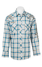 Wrangler Men's Blue, Khaki, and White Plaid with Embroidered Logos Western Snap Shirt