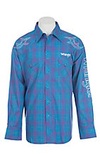 Wrangler Men's Blue and Purple Plaid Long Sleeve Western Shirt