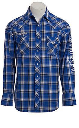 Wrangler Logo Men's Blue Plaid Long Sleeve Western Shirt