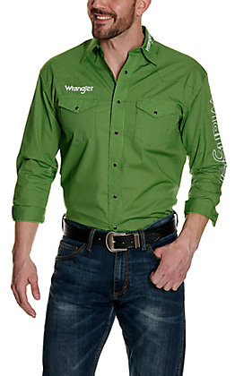 Wrangler Men's Lime Green & Black Grid Print with White Logos Long Sleeve Western Shirt