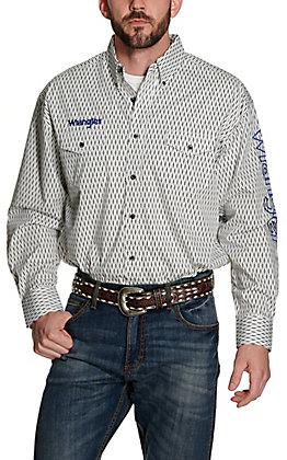 Wrangler Men's White with Black Diamond Print Logos Long Sleeve Western Shirt