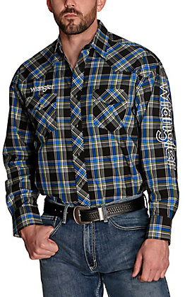 Wrangler Men's Blue and Black Plaid with White Logos Long Sleeve Western Shirt