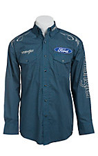 Wrangler Blue Ford Logo Embroidery Long Sleeve Western Shirt MP2290M