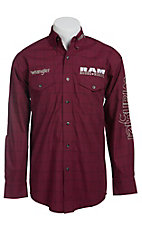 Wrangler Burgundy Plaid Ram Logo Embroidery Long Sleeve Western Shirt MP2291M