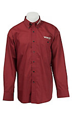Wrangler Red Print with Logo Embroidery Long Sleeve Western Shirt MP2297M