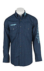 Wrangler Men's L/S Navy and Blue Print Western Snap Shirt