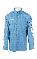 Wrangler Men's Blue Print Logo Long Sleeve Western Shirt