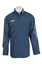 Wrangler Men's Navy and Grey L/S Western Shirt