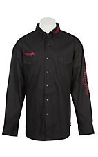 Wrangler Men's Black with Red Logo L/S Western Shirt