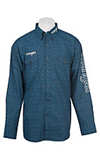 Wrangler Men's Black and Blue Paisley Logo Long Sleeve Western Shirt