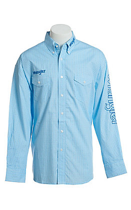 2c210d8a5e4 Wrangler Men s Logo Light Blue With Geo Circle All Over Print Long Sleeve  Western Snap Shirt