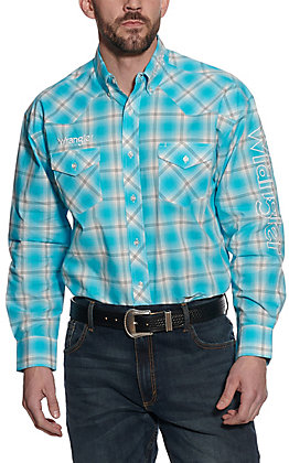 Wrangler Men's Turquoise & White Plaid Logo Long Sleeve Western Shirt