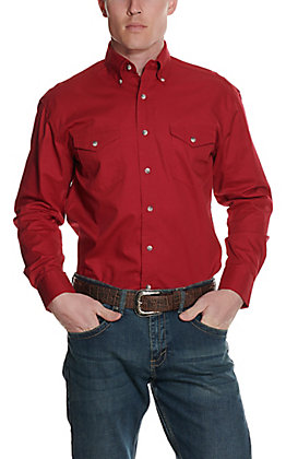 Wrangler Men's Red Painted Desert Long Sleeve Western Shirt