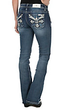 Miss Me Women's Medium Wash with Embroidered Cross Flap Pocket Boot Cut Jeans