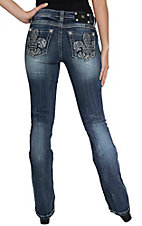 Miss Me Women's Medium Wash Chevron Fleur Open Pocket Mid-rise Bootcut Jean