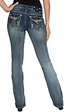 Miss Me Women's Light Wash Studs and Crystals Flap Pocket Mid-Rise Bootcut Jean