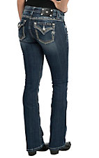 Miss Me Women's Medium Wash with Rhinestone Edge Flap Pocket Boot Cut Jean