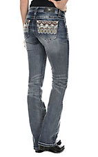 Miss Me Women's Faded Medium Wash with Zig Zag Rhinestone Embellished Open Pocket Slim Fit Boot Cut Jeans